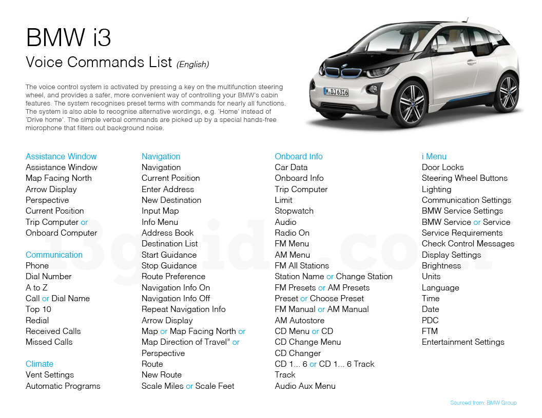 BMW i3 Voice Commands