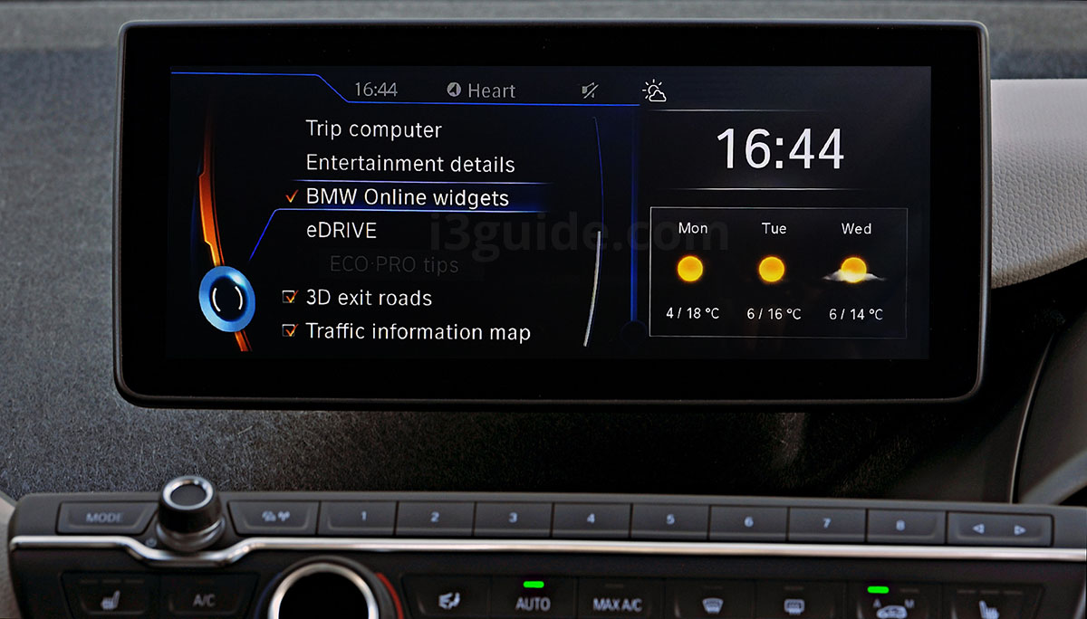 BMW i3 Split Screen Content List