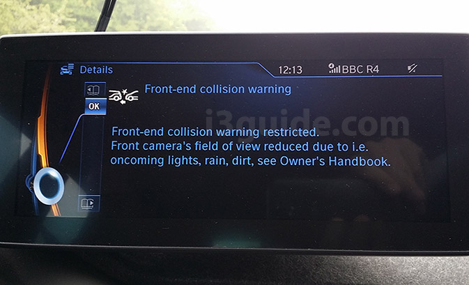 BMW i3 front-end collision warning